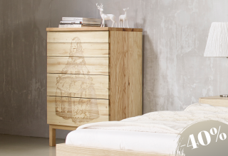 SOLID Chest of drawers, ash with laser engraving